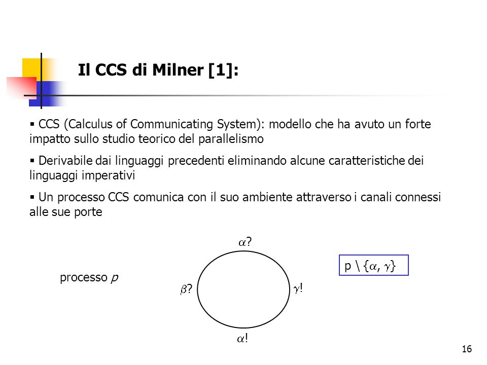 Il CCS di Milner [1]: CCS (Calculus of Communicating System): modello che ha avuto un forte impatto sullo studio teorico del parallelismo.